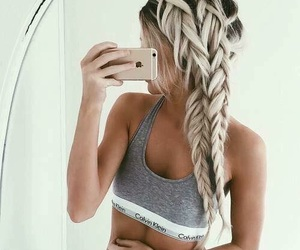 hair, braid, and Calvin Klein image