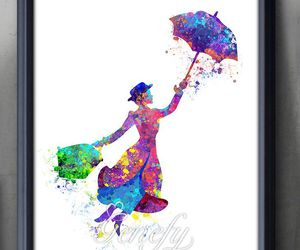 disney, Mary Poppins, and watercolor painting image