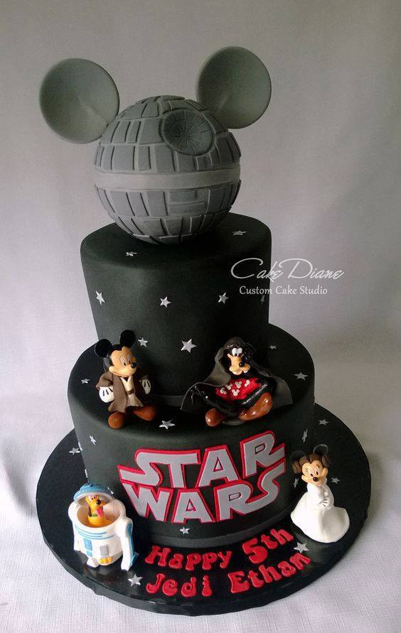 Excellent Disney Star Wars Birthday Cake On We Heart It Funny Birthday Cards Online Overcheapnameinfo