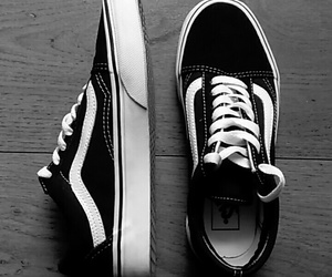 black and white, vans old school, and vans image