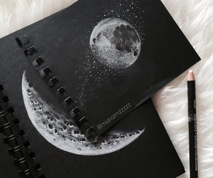 moon, art, and drawing image
