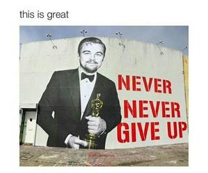 oscar, never give up, and leonardo dicaprio image