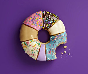 donut, purple, and doughnut image