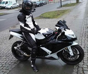black white, motorcycle, and suzuki image