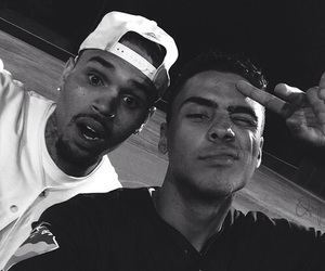 chris brown, quincy, and boy image