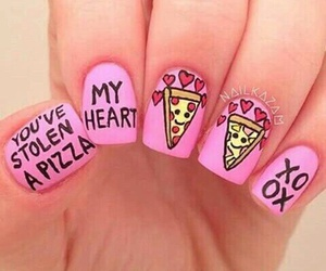 nails, pink, and pizza image