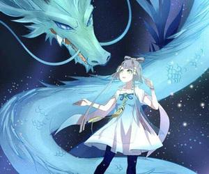 anime, dragon, and anime girl image