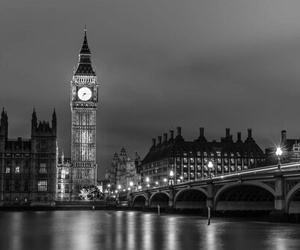 black and white and london image