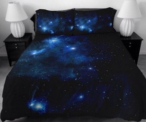 bed, galaxy, and bedroom image
