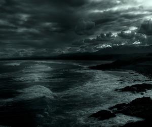 sea, nature, and dark image