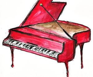 drawing, piano, and red image