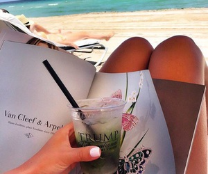 beach, vacation, and drink image