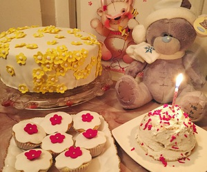 bear, birthday, and cake image