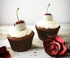 cupcake, cherry, and chocolate image