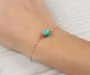 etsy, gold bracelet, and turquoise bracelet image