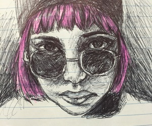 art, pen, and pink hair image