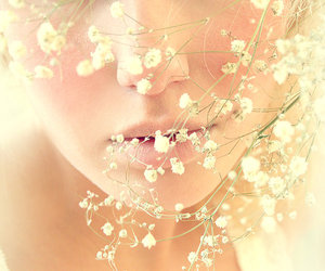 flowers, girl, and face image