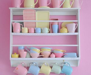 pastel, pink, and kitchen image