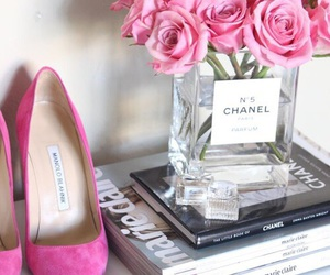 chanel, roses, and vase image