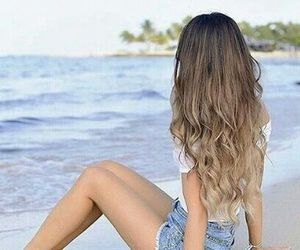 hair, beach, and girl image