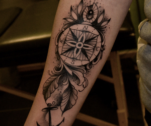 art, tattoo, and compass tattoo image