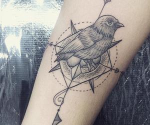 art, compass, and tattoo image