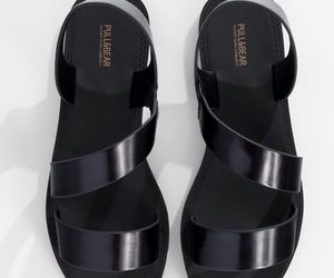 black, leather, and sandal image