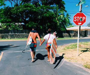 summer, couple, and surf image