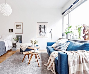 blue, living room, and decor image