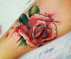 tattoo, rose, and watercolor image
