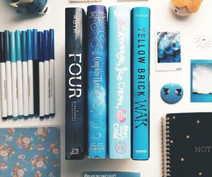 book, reading, and blue image