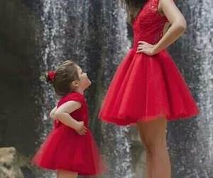 dress, red, and daughter image