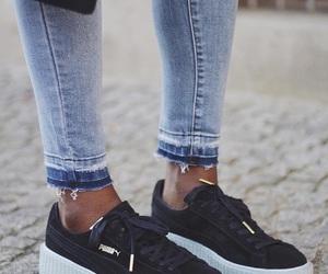 jeans, puma, and black image