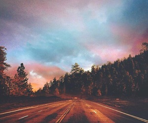 pink, sky, and trees image