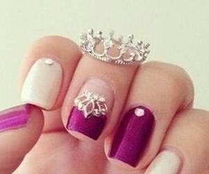 nails, crown, and nail art image