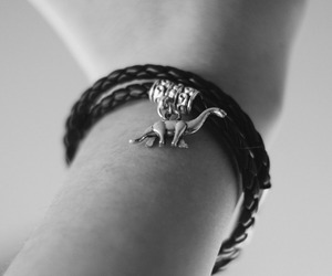 black and white, bracelet, and braided image