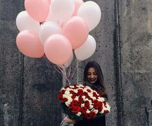 baloons, flowers, and roses image