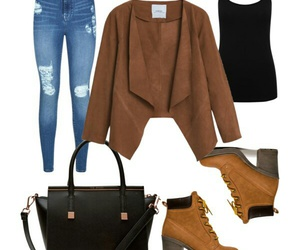 brown, jeans, and outfit image