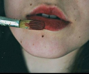 lips, red, and grunge image