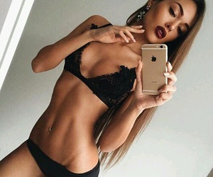belly button piercing, fit, and lace image