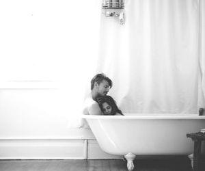 love, bath, and boy image