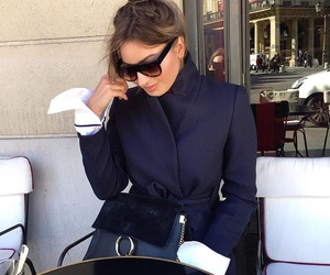 bag, coat, and navy blue image