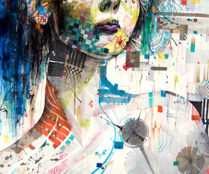 colorful, woman, and drawing image