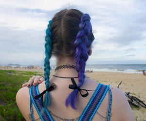 blue hair, hipster, and braids image