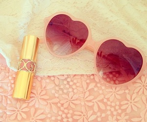 sunglasses, heart, and lipstick image