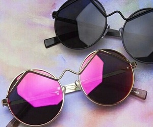 sunglasses, pink, and black image