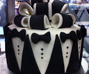 b&w, bowtie, and cake image