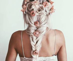 hair, hair style, and roses image