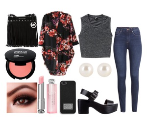 clothes, floral, and makeup image