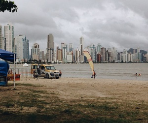 beach, city, and cloudy day image
